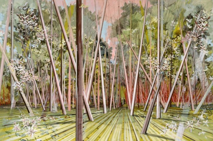 Dauerhaft ausgestellt in der G2 Kunsthalle Leipzig: David Schnell, Stangen im Mai (Gestänge 4), 2004, Hildebrand Collection, Leipzig. photo: Uwe Walter, Berlin © courtesy Galerie EIGEN+ART Leipzig/Berlin / VG Bild-Kunst, Bonn 2015.