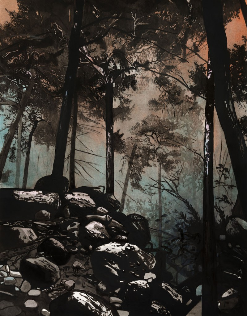 Sebastian Nebe, Kiefernwald, 2015, oil on paper, 182 x 141,5 cm, photo: Uwe Walter, Courtesy Galerie Kleindienst, Leipzig © Sebastian Nebe / VG Bild-Kunst, Bonn 2018